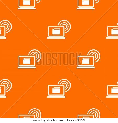 Laptop and and wireless pattern repeat seamless in orange color for any design. Vector geometric illustration