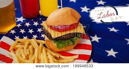 Digital composite image of happy labor day text with blue outline against french fries with and burger in plate with fourth of july theme