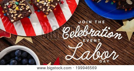 Digital composite image of join celebratio event labor day text against various sweet foods arranged on wooden table