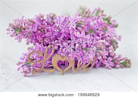 A branch of lilac on the table.Congratulation with a flowers .