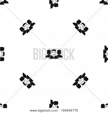 People group pattern repeat seamless in black color for any design. Vector geometric illustration