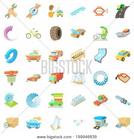 Auto service icons set. Cartoon style of 36 auto service vector icons for web isolated on white background