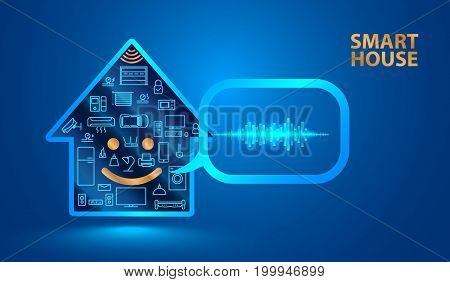 Voice assistant helps you to manage smart home system. Smart house said in a human voice. Control the Internet of things using voice commands. Vector