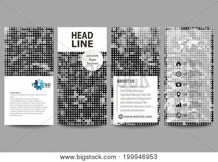 Flyers set, modern banners. Business templates. Cover design template, easy editable abstract vector layouts. Abstract landscape of nature. Dark color pattern in vintage style, mosaic texture.