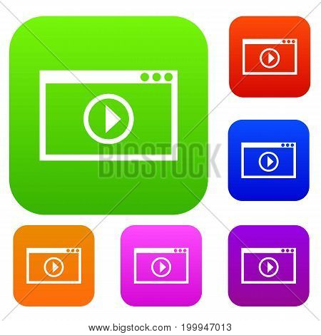 Program for video playback set icon in different colors isolated vector illustration. Premium collection