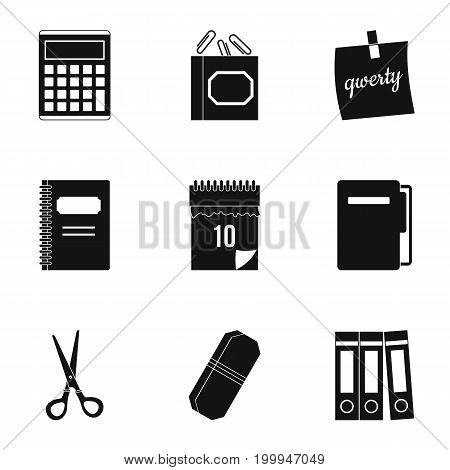 Office stuff icon set. Simple style set of 9 office stuff vector icons for web isolated on white background