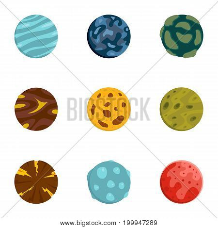 Mystery planet icons set. Flat set of 9 mystery planet vector icons for web isolated on white background