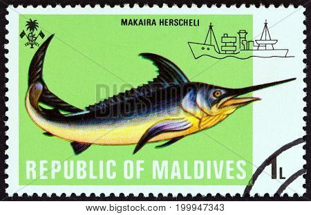 MALDIVES - CIRCA 1973: A stamp printed in Maldives from the
