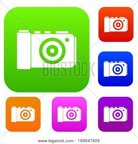 Photo camera set icon in different colors isolated vector illustration. Premium collection