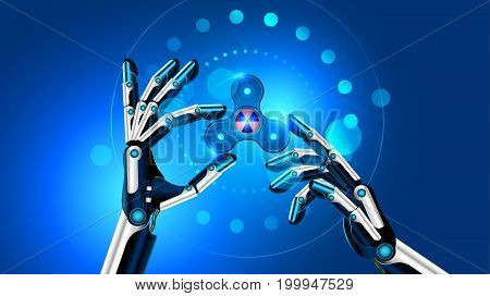 Hand spinner toy in robot hands. the robot shows the fidget toy for increased focus stress relief. Future blue background. VECTOR