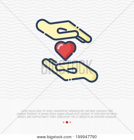 Heart between two hands thin line icon. Vector illustration for logo of charity, donation organization, symbol of help and love.