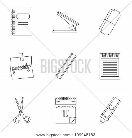 Office tools icon set. Outline style set of 9 office tools vector icons for web isolated on white background