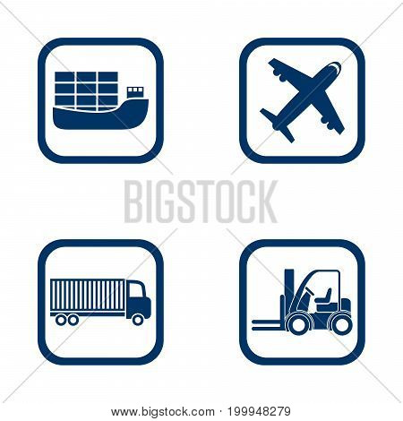 flat design icons export import set - ship airplane truck and forklift