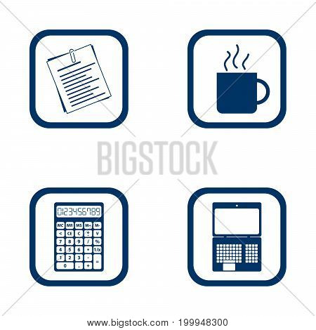 flat design icons office set - document cup calculator and laptop