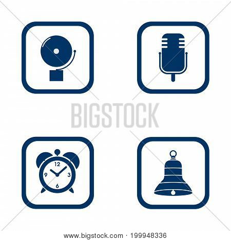set of audible icons alarm bell microphone alarm clock and bell - vector blue flat icon of sound