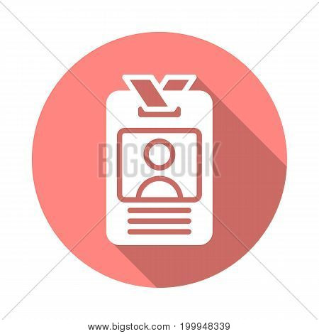 User id badge flat icon. Round colorful button, circular vector sign with long shadow effect. Flat style design