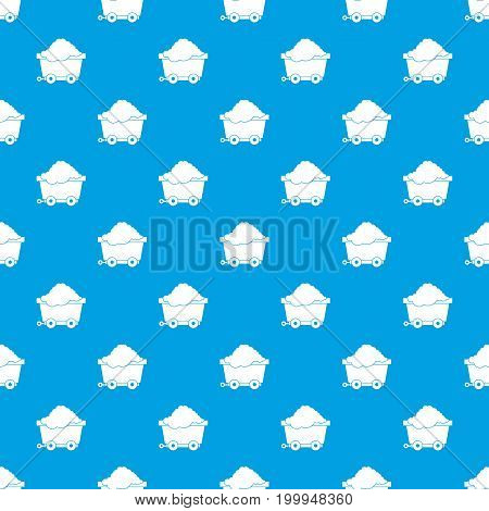 Cart on wheels with coal pattern repeat seamless in blue color for any design. Vector geometric illustration