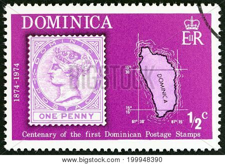 DOMINICA - CIRCA 1974: A stamp printed in Dominica from the