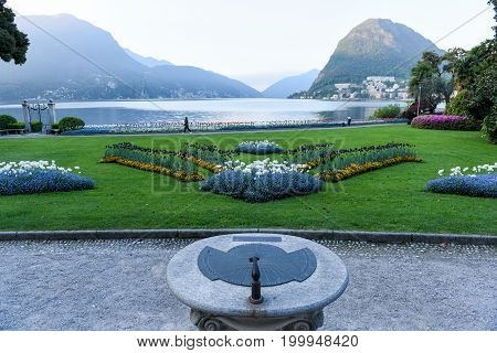 View At The Bay Of Lugano From The Botanical Garden