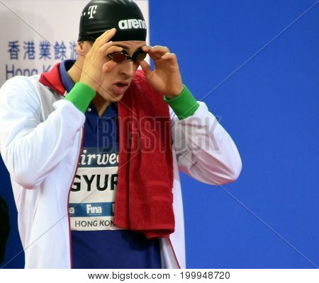 Hong Kong China - Oct 30 2016. Competitive swimmer Gergely GYURTA (HUN) at the start of the Men's Freestyle 1500m Final. FINA Swimming World Cup Victoria Park Swimming Pool.