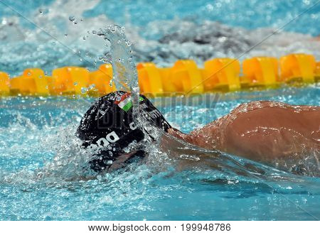 Hong Kong China - Oct 30 2016. Competitive swimmer Gergely GYURTA (HUN) swimming in the Men's Freestyle 1500m Final. FINA Swimming World Cup Victoria Park Swimming Pool.
