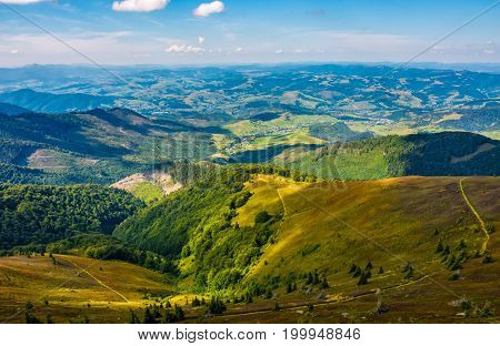 Beautiful Valley In Countryside View From Hillside