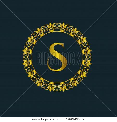 Luxury logo. Calligraphic pattern elegant decor elements. Vintage vector ornament Signs and Symbols. The Letters S. luxury logo template. EPS8,EPS10
