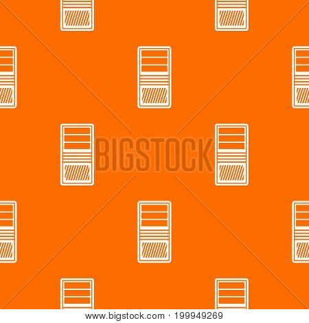 Black computer system unit pattern repeat seamless in orange color for any design. Vector geometric illustration
