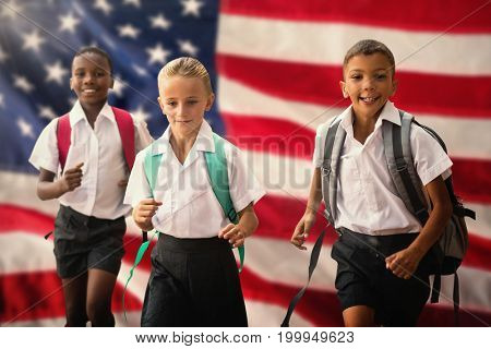 Students running against white background against close-up of an flag