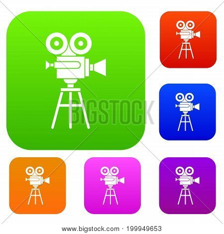Retro film projector set icon in different colors isolated vector illustration. Premium collection