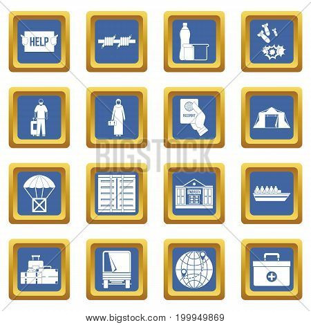 Refugees problem icons set in blue color isolated vector illustration for web and any design