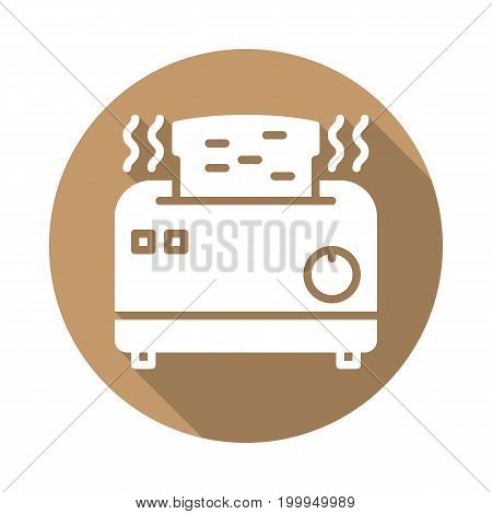 Toaster flat icon. Round colorful button, circular vector sign with long shadow effect. Flat style design