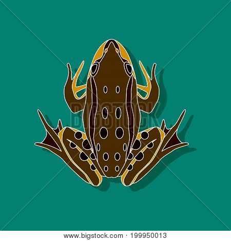 toad amphibian paper sticker on stylish background