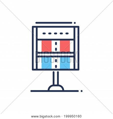 Score - modern vector single line design icon. An image of sport industry item, point, score table, chart, red and blue colors, white background. Football, baseball, soccer, rugby game presentation.