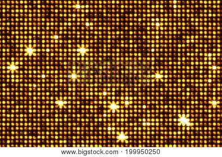 Golden Reflections And Led Star Flashes Illustration