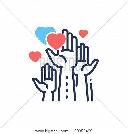 Volunteering - modern vector single line design icon. An image of hands up, different size hearts, blue and color, white background. Chaity, volunteering, help, care presentation.