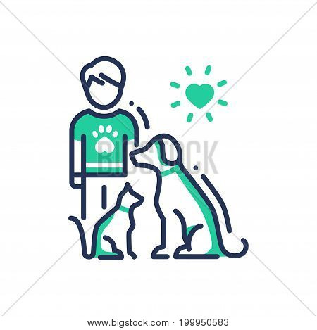 Animals Help - modern vector single line design icon. An image of a human with cat and dog under heart sun. Green color on white background. Charity, volunteering, shelter, vet clinic presentation. Pet care