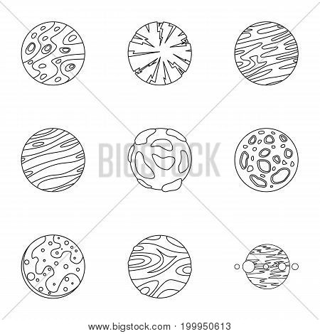 Mystery planet icons set. Outline set of 9 mystery planet vector icons for web isolated on white background