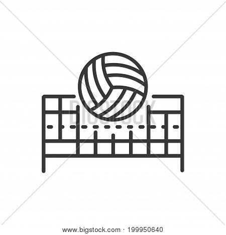 Volleyball - modern vector single line design icon. A black and white image of sport industry object. A ball over net. Popular active team game equipment. Tournament, championship, competition symbol