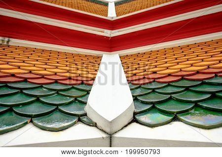 Thai Roof Style In The Temple At  Wat Pho Temple