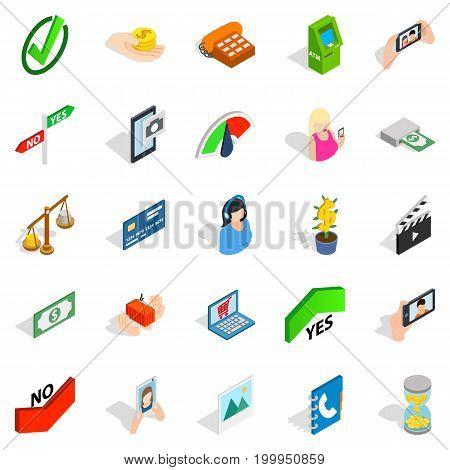 Operator icons set. Isometric set of 25 operator vector icons for web isolated on white background