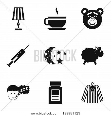 Bed time rest icon set. Simple style set of 9 bed time rest vector icons for web isolated on white background