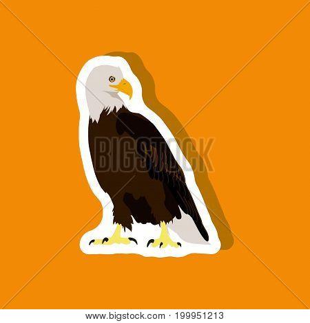 paper sticker on stylish background eagle animal