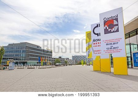 Leinfelden-Echterdingen Germany - May 06 2017: Trade fair Stuttgart entrance east (Eingang Ost) - advertisement for International leading trade fair for quality management