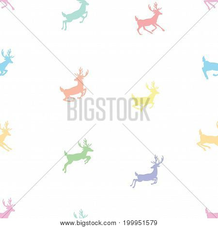 Seamless pattern with flying deers. Wallpapers with running deer. Prints for textiles with deer santa. Christmas seamless texture.