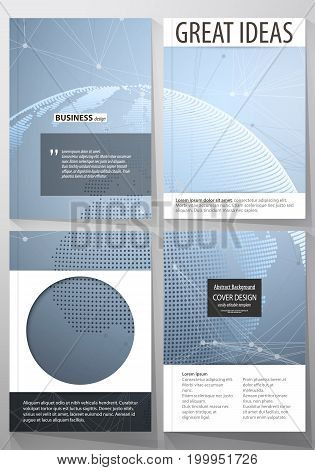 The vector illustration of the editable layout of four A4 format covers with the circle design templates for brochure, magazine, flyer. World globe on blue. Global network connections, lines and dots