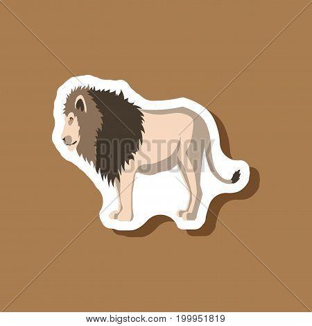 lion paper sticker on stylish background animal