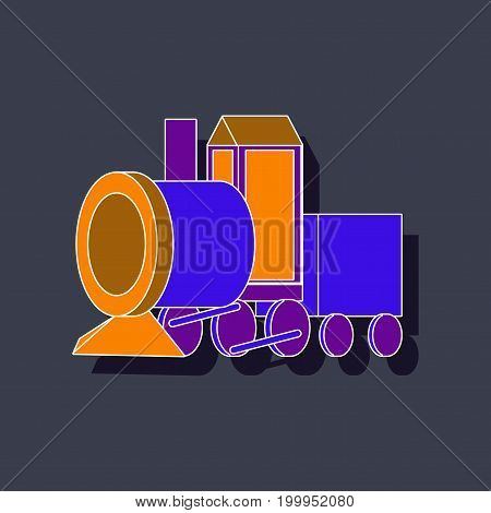 paper sticker on stylish background Toy train