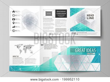 The minimalistic vector illustration of the editable layout. Two modern creative covers design templates for square brochure or flyer. Chemistry pattern. Molecule structure. Medical, science background.