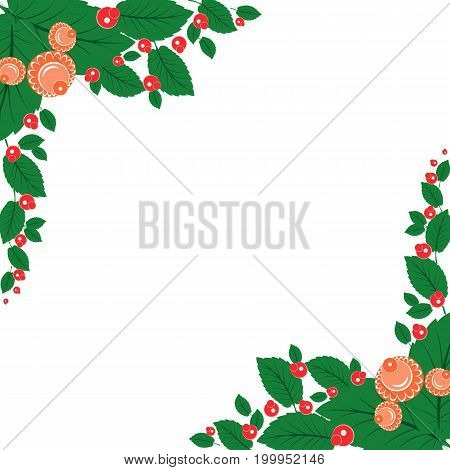 Frame With Ornament In Slavic National Style, Rowan Berries And Flowers
